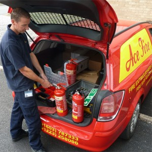 Carrying out fire extinguisher servicing