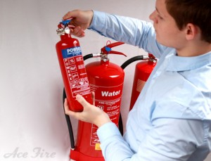Small powder and large water extinguisher