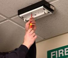 Emergency lighting being tested