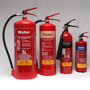4 different medium fire extinguishers, water, foam, co2 and powder