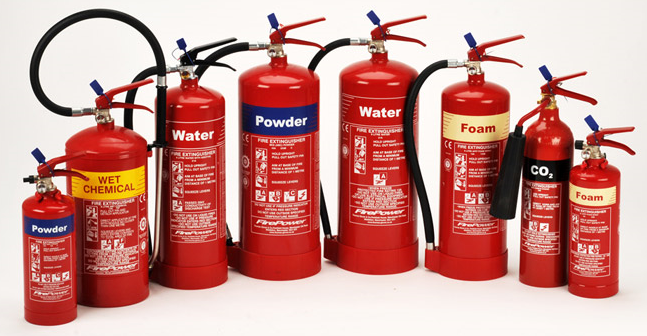 Foam, CO2, Water, Wet Chemical and Powder fire extinguihsers